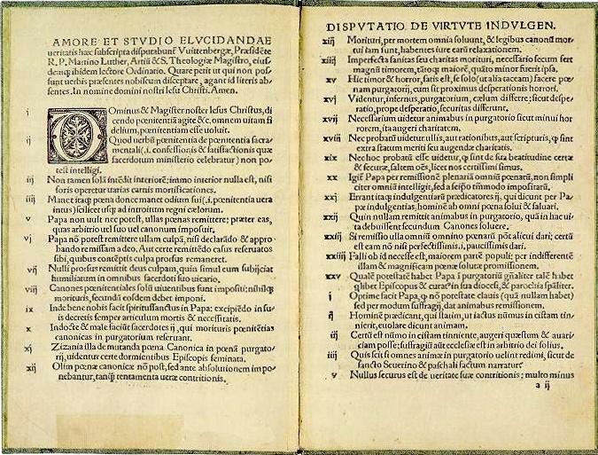 fac similé des 95 thèses de Martin Luther