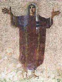 fresque dans des catacombes de Rome montrant une femme conduisant la prière dans une assemblée