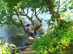 homme assis au bord de l'eau - http://www.flickr.com/photos/54289096@N00/7703783956 Found on flickrcc.net