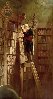"""peinture de Carl Spitzweg représentant un """"rat de bibliothèque"""""""