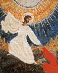 Christ allant vers le ciel et soulevant quelqu'un