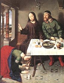 extrait de Le Christ dans la maison de Simon; BOUTS, Dieric ; 1440s huile sur bois; Staatliche Museen, Berlin