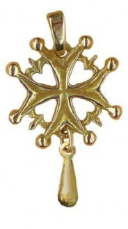 Croix huguenote avec larme