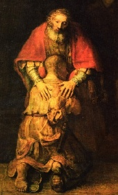 Le fils prodigue accueilli par le père (Luc 15), peinture célèbre de Rembrandt