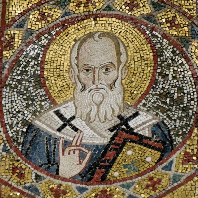 Saint Grégoire de Nazianze, mosaïque du XIIe siècle. Santa Maria dell'Amiraglio à Palerme