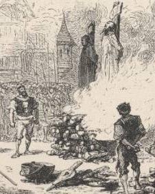 Extrait d'une gravure illustrant le martyr de Jean Vallière