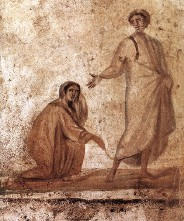 La guérison d'une femme par Jésus (fresque dans les catacombes de Marcellinus à Rome)