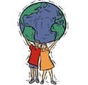 deux enfants portent le monde