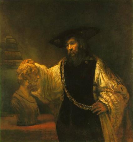 """Rembrandt """"Aristote contemplant un buste d'Homère"""""""